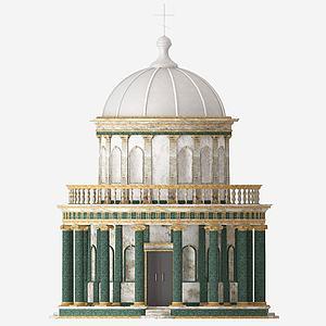 3d美式教堂建筑模型模型