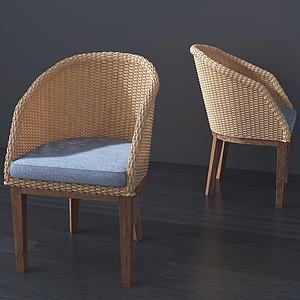 3d現代編織藤編休閑椅模型