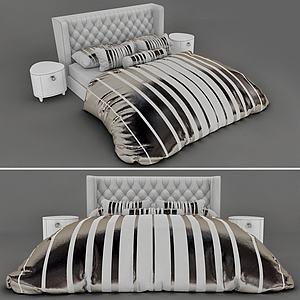 現代布絨雙人床模型3d模型