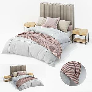 現代布藝雙人床床頭柜模型3d模型