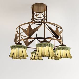 現代吊燈草垛吊燈模型3d模型