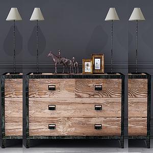 新中式實木玄關柜臺燈3d模型