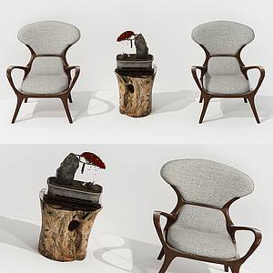 新中式茶幾椅組合3d模型