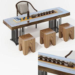 新中式茶室桌書桌3d模型