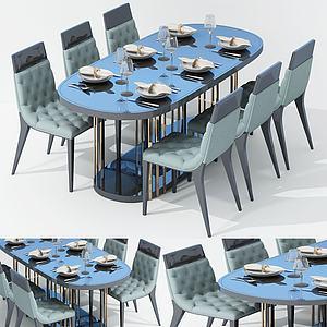 現代休閑餐桌椅面包椅3d模型