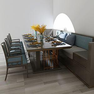 現代餐桌椅靠邊組合3d模型