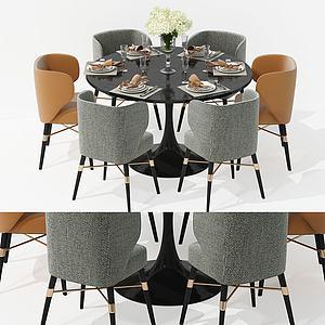 美式圓形餐桌椅3d模型