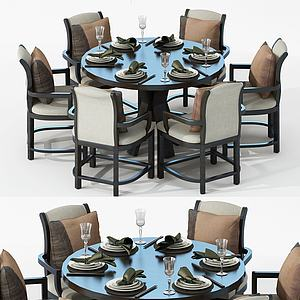 美式面包餐桌椅3d模型