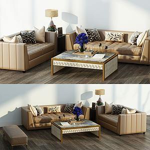 美式沙發茶幾臺燈組合模型3d模型