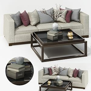 現代布藝沙發茶幾椅組合模型3d模型
