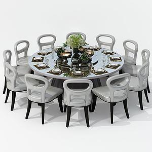 美式鏤空多人餐桌椅組合3d模型