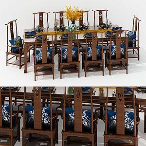 新中式長方形餐桌椅組合3d模型