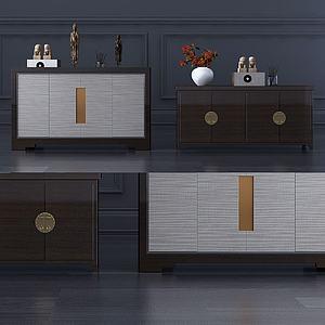 新中式玄關柜裝飾柜3d模型