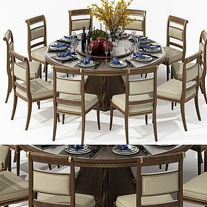 現代圓桌椅餐桌椅3d模型