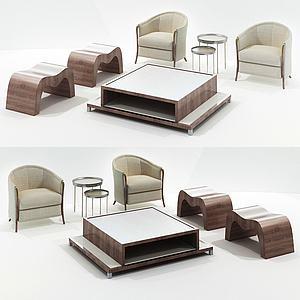 新中式板凳茶幾組合3d模型