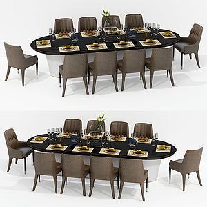 現代橢圓餐桌椅組合3d模型