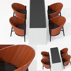 現代柜子式餐桌椅休閑桌椅3d模型