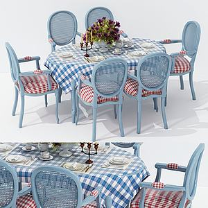 現代清新餐桌椅組合3d模型