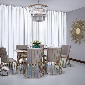餐桌組合3d模型