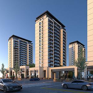 中式住宅建筑透视模型3d模型