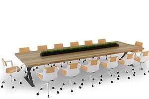 3d會議桌椅模型
