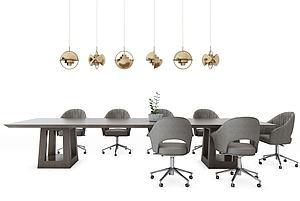 簡約會議桌椅模型3d模型
