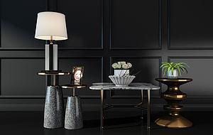 現代輕奢歐式邊幾茶幾臺燈模型3d模型