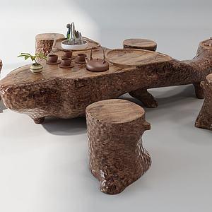 3d中式木墩茶桌茶海模型