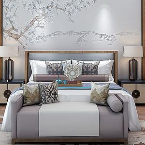中式床模型3d模型