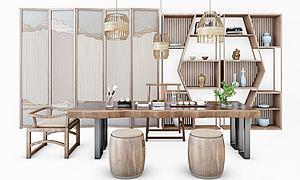 簡約中式茶案模型3d模型