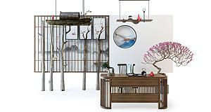 中式茶臺單椅木船吊燈組合模型3d模型
