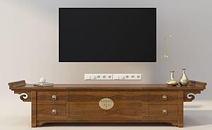 中式電視柜插座模型3d模型