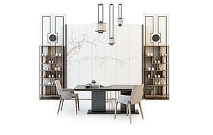 簡約書桌椅組合模型3d模型