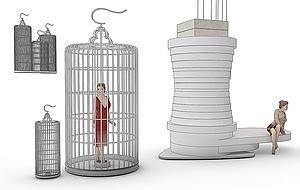 創意展臺鳥籠造型模型3d模型
