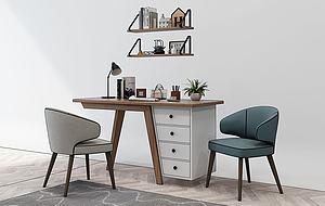 北歐書桌椅寫字臺模型3d模型