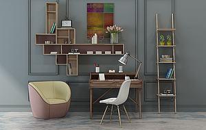 北歐書房桌椅書柜寫字臺模型3d模型