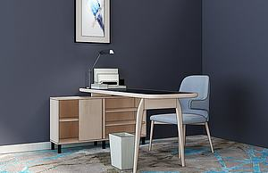 北歐書桌椅組合模型3d模型