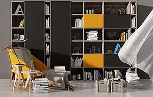 現代休閑椅子書柜收納盒書模型3d模型