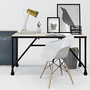 北歐原木色木藝書桌模型3d模型