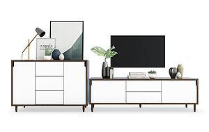 實木電視柜邊柜擺件組合模型3d模型