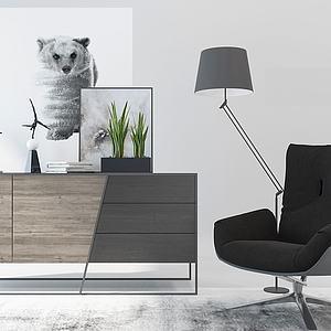 北歐椅子邊柜電視柜組合3d模型