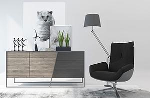 北歐椅子邊柜電視柜組合模型3d模型