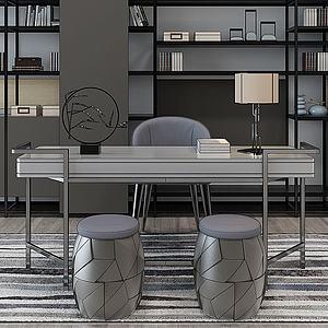 北歐現代書房桌椅3d模型