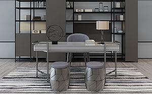 北歐現代書房桌椅模型3d模型