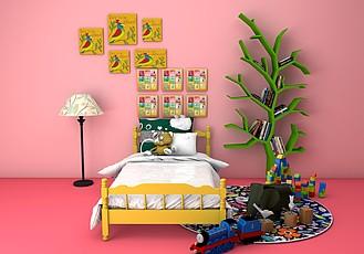 C4D儿童房床树书架装饰画组合模型