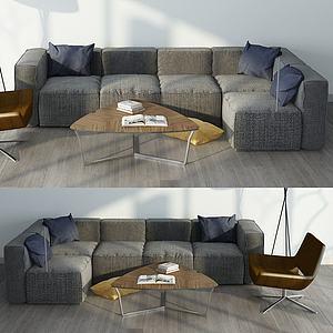 棉麻沙發3d模型