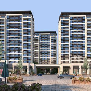 新中式建筑小区住宅3d模型