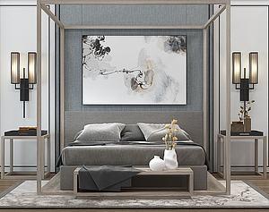 新中式床模型3d模型