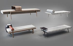 新中式現代床尾凳模型3d模型