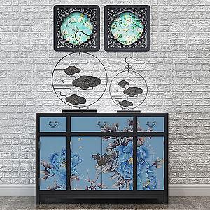 新中式端景柜3d模型